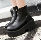 Women Combat Punk Motor Lace Up Creepers Platform PU Leather Ankle Boots Shoes