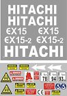 Decal Sticker set. HITACHI EX15 & EX15-2  Mini Digger Pelle Bagger Excavator