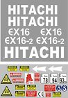 Decal Sticker set. HITACHI EX16 & EX16-2  Mini Digger Pelle Bagger Excavator
