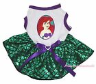Mermaid Princess White Top Bling Green Fish Scale Skirt Cat Pet Dog Puppy Dress