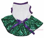 Plain White Cotton Top Bling Green Fish Scale Skirt Cat Pet Dog Puppy Dress Bow