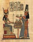 "Egyptian Papyrus Painting Queen Nefertary offers to Isis 7X9"" + Hand Painted #54"