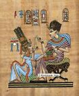 "Egyptian Papyrus Painting - Tutankhamen and his wife 8X12"" + Hand Painted #44"