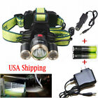 Tactical 30000LM Headlamp CREE XML-T6 3*LED Headlight Lamp+2x18650+2xCharger USA