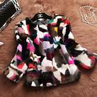 Multi-Color Women 100% Real Mink Fur Coat Jacket Overcoat Outerwear New Coming