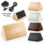 Classical Triangular Blue Digital LED Wood Wooden Desk Alarm Clock Thermometer Y