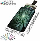 Ganja Crop Weed Cannabis Plant Flower - Universal Leather Phone Pouch Case Cover