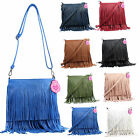 Womens Faux Leather Satchel Tassle Fringe Shoulder Bag Cross Body Handbag