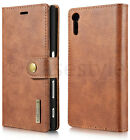 Sony Xperia XZ Phone Genuine Leather Wallet+Removable Magnet Back Case Cover New