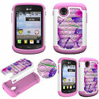 Crystal Rhinestone Diamond Bling Case for LG 306G Shockproof Soft TPU+PC Cover