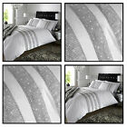 LUXURY PERCALE SEQUIN DIAMANTE LUXURY WHITE DUVET BED SET DOUBLE KING SUPERKING