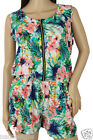 WOMENS ALL IN ONE PLAYSUIT ROMPER TROPICAL PRINT ZIP FRONT SLEEVELESS SCOOP NECK