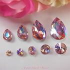 5pcs ABPink Diamante Teardrop Rivoli Beveled Glass Rhinestone Crystal Nail Art