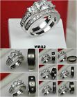 His Titanium Hers 1.18CTW Sterling Silver 925 Wedding Ring Engagement Ring Set
