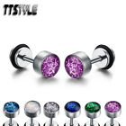 TTstyle 6mm Clear Epoxy Shining Surgical Steel Round Fake Ear Plug Earrings NEW