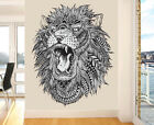 Detailed Pattern Roaring Lion Wall Art Vinyl Stickers African Animal Decal Mural