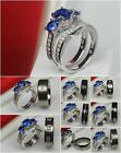 Ladies 3 Stone Sapphire 925 Silver Mens Titanium Wedding & Engagement Ring Set
