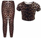Girls Brown Leopard Print Crop Top & Legging Set Outfit Clothes 7-13 Years