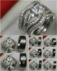 Ladies 3 Ring Sterling 925 Silver Mens Titanium Wedding & Engagement Ring Set
