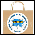 Ninjago Blue White Birthday Party Favor Goody Bag STICKERS - Personalized Labels