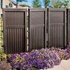 * 2 Colors Resin Woven Wicker Privacy Screen Patio Yard Outdoor Standing Decor
