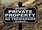 PRIVATE PROPERTY NO TRESPASSING Lawn Sign - Laser Engraved - FREE SHIPPING