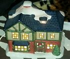 """Yi Cheing Ceramic 7"""" Snow Topped Christmas 2-Story House Figurine- Holds Light"""