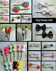 2 X (1 PAIR) HAIR GRIPS CLIPS STRAWBERRY PUPPIES ROSES CHOCOLATE ICE CREAM BOWS