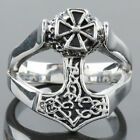 Woman Man's Cross Totems Hollow Out Stainless Steel Punk Rock Biker Finger Ring