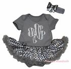 St Patrick Clover Gray Bodysuit Bling Silver Fish Scale Girls Baby Dress NB-18M