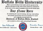 BUFFALO BILLS  FOOTBALL ~  NFL MAN CAVE ~ CERTIFICATE ~ DIPLOMA MUST HAVE  GIFT
