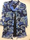 ROYAL BLUE, BLACK AND NAVY PRINT LACE COWL NECK,3/4 SLEEVE TOP BNWT