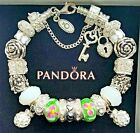 NEW Authentic PANDORA Sterling Silver BRACELET with European Charm Beads #15