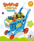 deAO Children Shopping Cart Trolley Play Set Includes 50 Grocery Shop Accesso...