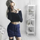 Women Faux Suede Vintage Slim Lace Up High Waist Bodycon Casual Party Mini Skirt
