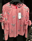 Spain Women's 100% Cotton Red Striped Printed Top Blouse Bowtie Sleeves XS-L