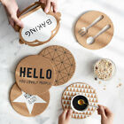 Cork Wood Drink Coaster Cup Mat Flexible Table Heat Resistant Round Drinks Mats