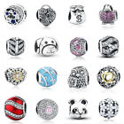 Authentic S925 Sterling Silver Charm Bead Spacer CZ Fit European Bracelet P3