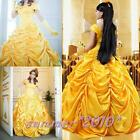 Adult Princess Belle and The Beast Halloween Cosplay Costume Fancy Gold Dress