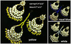 White Kundan Pearl Gold Tone Bollywood Bridal Fashion Earring-Tikka JewlrySet-13