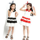 New Girls Children Kids Fashion Clothes Party Evening Striped Dresses Size 2-7Y