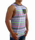 NEW MENS PLAIN STRIPE POCKET MUSCLE TANK SLEEVELESS TOP GYM SPORT FASHION SHIRT