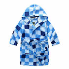 Pyjamas Boys Winter Fleece Dressing Gown Robe (Sz 3-7) Blue Cheques Sz 3 4 5 6 7