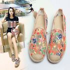 Womens Casual Flats Slip On Loafers Fancy Embroidery Shoes Mesh Woven Moccasins