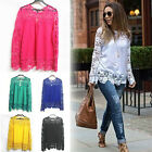 Casual Women Long Sleeve Lace Chiffon Hollow Floral Blouse Tops T-shirt