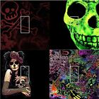 LIGHT SWITCH COVER VINYL STICKER GREEN SKULL BONES SUGAR SKULL LADY  COLORFUL