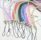 3pc Crystal Lanyard Necklace ID Badge Cell Phone Keychain Glitter Cord Strap