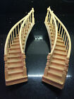FABULOUS PAIR OF SWEEPING WOOD STAIRCASES LEFT AND RIGHT  12TH SCALE