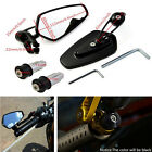 "2Pcs 7/8"" 22mm Motorcycles Left Right Handbars Bar End Side Rearview Mirrors BK"