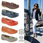 Womens Ladies Slip On Leather Comfort Work Summer Casual Loafers Shoes Sizes 3-8